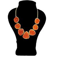 Orange Druzy Statement Necklace Bib Crew Style Stella Necklace Dot Drusy J