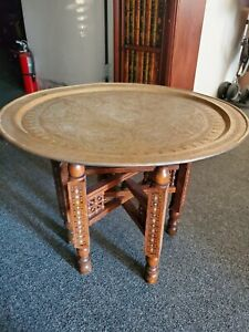 Vintage Large Engraved Middle Eastern Brass Table Top Tray Folding Stand