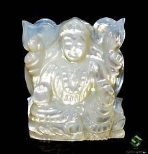 34.30 Cts Natural Mother Of Pearl Hand Made Carving Hindu Lord Laxmi 30x20 mm