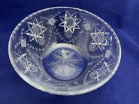 """Vintage  Glass Bowl Cut & Etched Star of David Flower Garland Thistle 8.5"""" wide"""