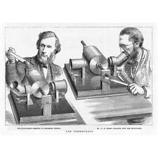 The Phonograph with Tyndall and Preece Operating - Antique Print 1878