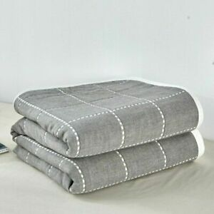 Six Layers Gauze Bedding Throw Blanket Summer Plaid Single/Twin/Queen/King Sizes