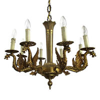 Gothic Ornate Brass 8 Arms Lights Chandelier Revival Dragons Empire Impressive