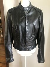 DADA AND CO Sz XL Black Biker Jacket Coated Cotton Fabric Feature Lining EUC