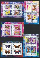 SCHMETTERLINGE PAPILLONS BUTTERFLIES 5X MINI SHEET SET **