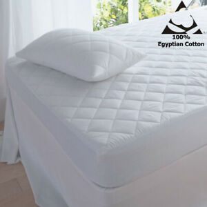 T200 Quilted mattress protectors 100% Cotton diamond quilted 40cm DEEP All Size