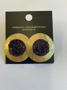 French Connection - Purple Stone Earrings - Brand New