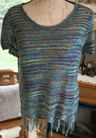 John Paul Richard Open Knit Multi Colored Fringed Short Sleeve Sweater Size M