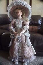"THELMA RESCH DOLL RARE 119/2000 36"" LARGE PORCELAIN LADY WOMEN VICTORIAN FORMAL"