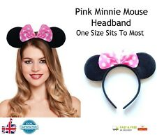PINK MINNIE MOUSE HEADBAND Fancy Dress Alice Band Spotted Bow Ladies Girls Band