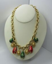 RARE Vintage CHUNKY Chain Russian Imperial Enamel Eggs Necklace Joan Rivers