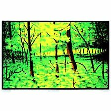 SUMMER WOODS - BLACKLIGHT POSTER - 24X36 FLOCKED NATURE TREES 52100