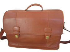 Genuine Coach leather briefcase laptop carrier messenger bag in tan