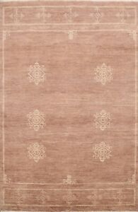 Contemporary Geometric Gabbeh Oriental Area Rug Hand-Knotted Wool 5x7 Carpet