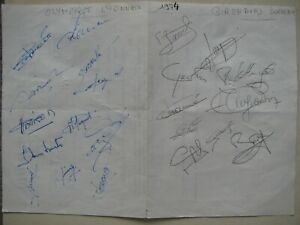 Autographes dédicaces football joueurs de Lyon et Girondins de Bordeaux 1974
