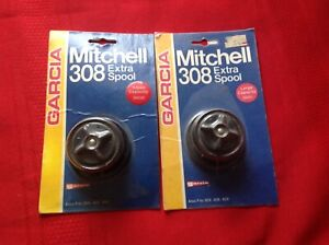 NOS 2 Vintage Garcia Mitchell 308 308A 408 408A Large Small Sealed Spool Lot #7