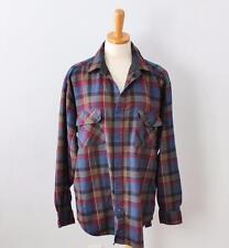 Vtg 90s Coleman Plaid flannel Shirt men L maroon blue lumberjack Grunge punk F7