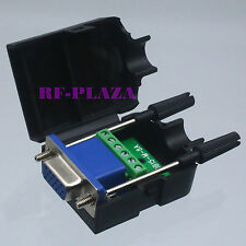 Connector DB15 VGA female D-Sub 3+2 line Plastic Cover screw Terminal PCB black