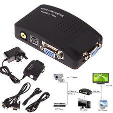 AV RCA Composite S-video Input to VGA Output Monitor Converter Adapter CCTV DVD
