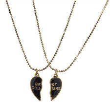 Lux Burnish Gold Best Cousins Mood Detachable Heart Necklace Set ( 2 Pc )