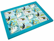 'BIRDS OF BRITAIN'  TV LAP TRAY WITH SOFT BEANBAG BASE IN FAUX LEATHER