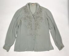 VTG PEONY 100% SILK Hand Embroidered Woven long sleeve Blouse Womens 34 Shanghai