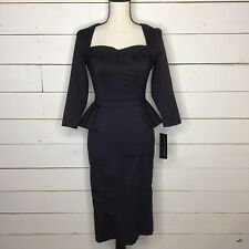 New Stop Staring! Celebrity Square Neck Shirred Front Dress Black Womens 6
