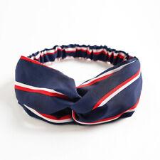 Fascia per capelli elastica donna nodo elegante blu righe bianche rosse