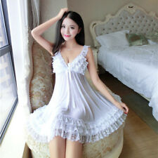 Women's Plus Size Lace Sexy nightgown adult Intimate Sexy lingerie white S-XL