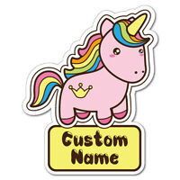 Custom Kid's Name Unicorn Pink Sticker Decal Car Vinyl Personalized Text #7220EN