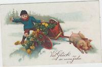 B 591 Neujahr ca.1920 ! Glücksschweine mit Geld !