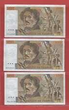 Lot de 3 x 100 FRANCS EUGENE DELACROIX de 1982 ALPHABETS J.55  V.55  P.56
