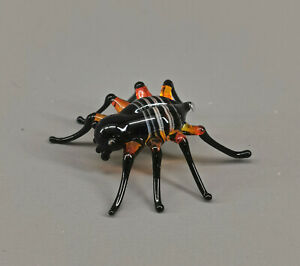 9912211-x Miniature Glas Figure Spider Insect Black Red Handmade 2, 5x2, 5cm