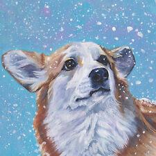 """Pembroke Welsh Corgi dog portrait art Canvas PRINT of LAShepard painting 8x8"""""""