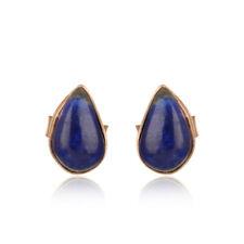 Natural Lapis Lazuli Gemstone 925 Silver Elegant Fashion Stud Earrings