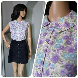 Vintage 60s 50s Floral Pansy Cotton Sleeveless Collared Blouse Top 10 12 38 40