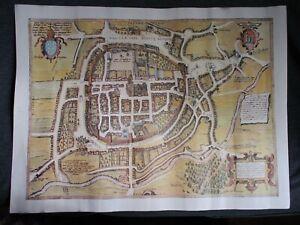 Antique Print-PLAN-BRAGA-BRACARA AUGUSTA-PORTUGAL-Braun-Hogenberg ?-1594 Latin a