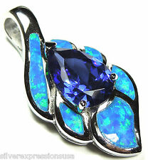 Quality Tanzanite & Blue Fire Opal Inlay 925 Sterling Silver Pendant  Necklace
