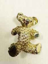 VTG gold tone metal Signed Gerry's Teddy Bear pin brooch