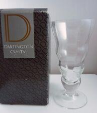 VINTAGE DARTINGTON CRYSTAL DAISY OPTIC GLASS FOOTED VASE - 17.5cm