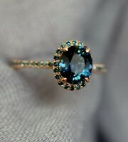 2ct Oval Cut London Blue Topaz Engagement Ring Halo Solitaire 14k Rose Gold Over