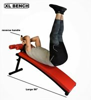 """Gym Class Premium Adjustable Curved Sit-Up 58"""" Bench Exercises w/ Reverse Handle"""