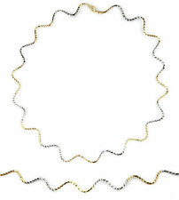 17in 2-tone 18K gold wave chain necklace