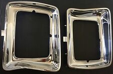 78-80 FORD F100 PARTS CHROME HEAD LIGHT SURROUNDS PAIR SQUARE N GRILLE