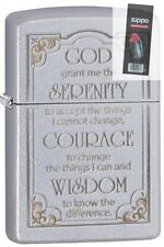 Zippo 28458 serenity prayer satin chrome Lighter + FLINT PACK