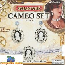 STEAMPUNK CAMEO EAR RINGS VICTORIAN ANTIQUE GOTHIC - fancy dress accessory