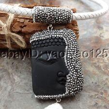 "K060407 18"" White Leather Necklace White Keshi Pearl Black Jasper Buddha Pendant"