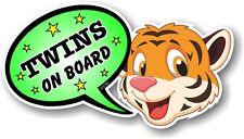 Funny Novelty Cute TIGER & TWINS ON BOARD Speech Bubble vinyl car sticker decal