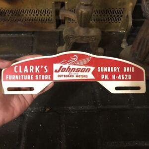 Vintage Johnson Outboard Motor Clark's Furniture Metal License Plate Topper Sign