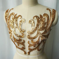 Golden Sequin Neckline Patch Sew on Clothes Gold Silver Red Embroidery Applique